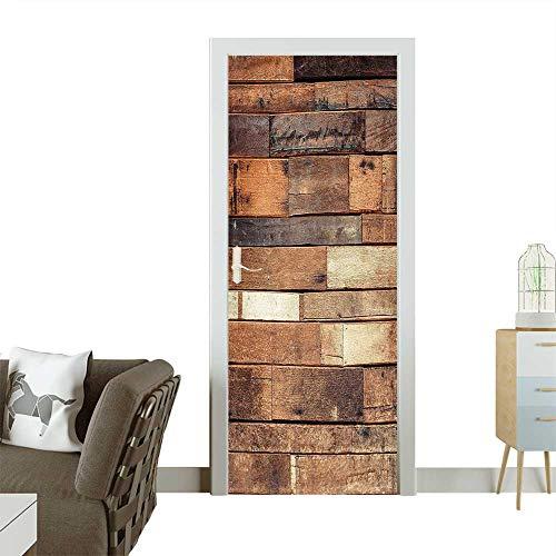 Waterproof Decoration Door DecalsFloor Planks Print Grungy Look Farm House Country Style Walnut Oak Grain Image Perfect ornamentW35.4 x H78.7 INCH