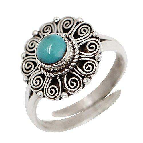 Luna Azure Turquoise 925 Sterling Silver Handmade Carve Patterns Vintage Adjustable Ring Women Girls Present Jewelry