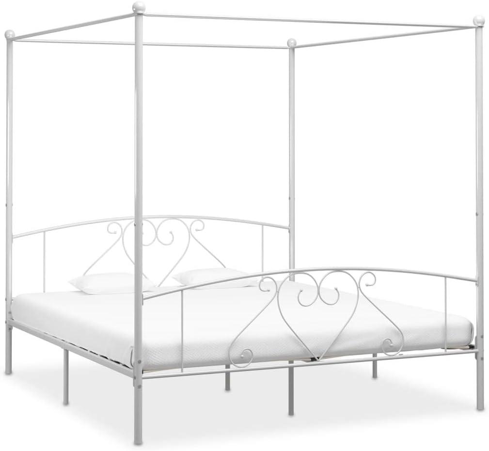 UnfadeMemory Estructura de Cama de Metal con Somier y Dosel,Elegante y Clásico (180x200cm, Blanco)