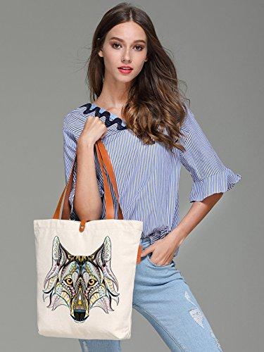 So'each Women's Animal Wolf Geometry Top Handle Canvas Tote Shoulder Bag