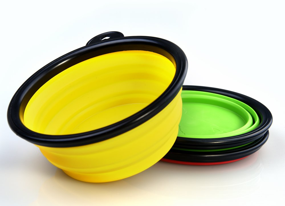 Annic 3pcs Collapsible Silicone Pet Travel Bowl for Food and Water with free Reflective Pet Collar