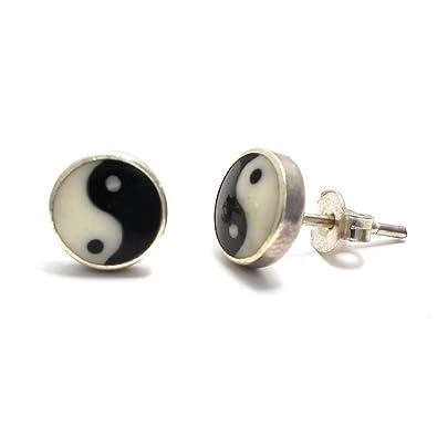Yin yang ohrstecker silber