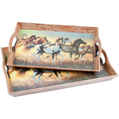 Animal World - Horses Running In Field Set Of Two Serving Trays (Serving Tray Field)