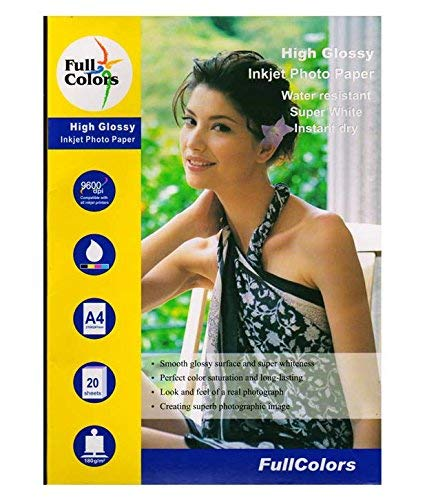Full Colors A4 Photo Paper 210x297mm 180gsm High Glossy Water Resistant Instant Dry for All Inkjet Printers – Set of 1 (20 Sheets)