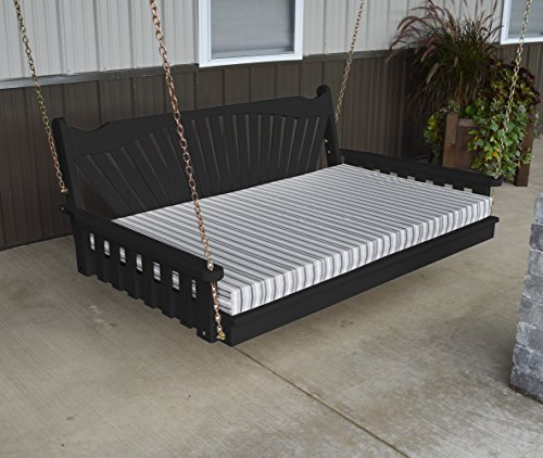 Hanging Fanback Porch Swing Bed - Gorgeous 6' Swinging Swingbed Daybed Frame Is A Showstopper That The Entire Family Will Love - Fun Outdoor Furniture Covered Terrace - 9 Color Choices - Cedar Adirondack Tree Bench