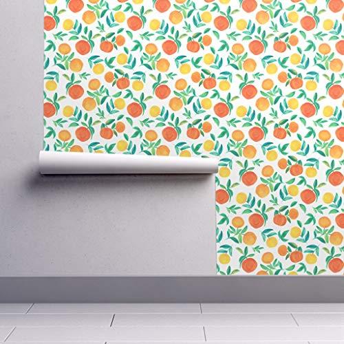 Orange Wallpaper Sample Swatch - Citrus Watercolor Spanish Colorful Frutal Garden by Dariara - Swatch 12in x ()