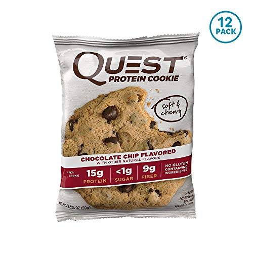 Quest Nutrition Chocolate Chip Protein Cookie, High Protein, Low Carb, Gluten Free, Soy Free, 12 Count ()