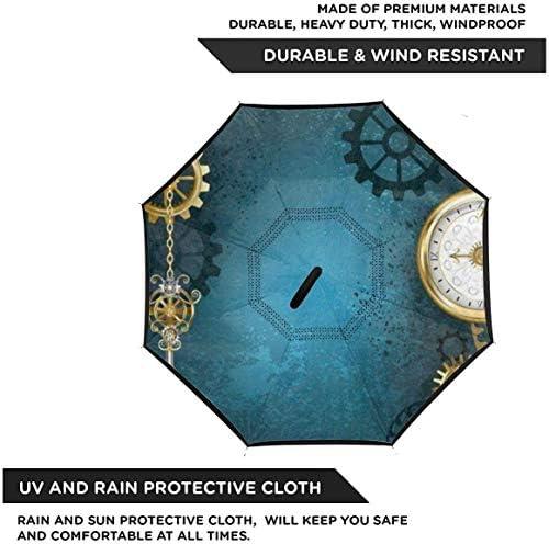 レトロなSteamPunkゴールドギアクロック ユニセックス二重層防水ストレート傘車逆折りたたみ傘C形ハンドル付き