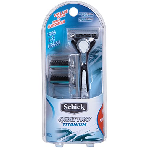 Schick Quattro Titanium Razor for Men Value Pack with 1 Razor and 3 Razor Blade Refills