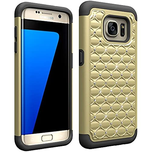 Galaxy S7 Edge Case , Ivencase Luxury [ Shockproof ] Bling Hybrid Dual Layers Armor Defender Protective Cover Sales