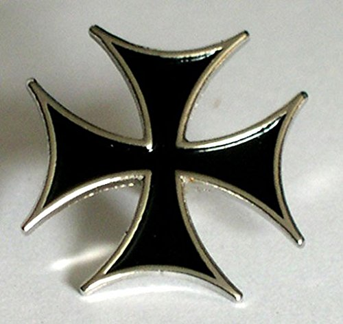 Métal Émail Badge à épingle Biker Trucker Trottinette Noir MALTE Croix de Fer Mainly Metal