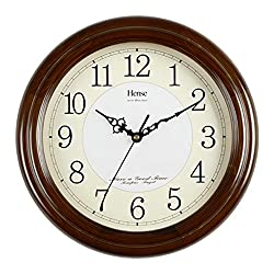 HENSE 12.6-inch Large Solid Platane Wood Wall Clock Living Room Modern Clock Mute Simple Quartz Clock with Big Arabic Numerals and Fine Texture HW13 (HW13 #B-B)
