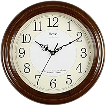 HENSE 12.6 Inch Large Solid Platane Wood Wall Clock Living Room Modern Clock  Mute Simple Part 58