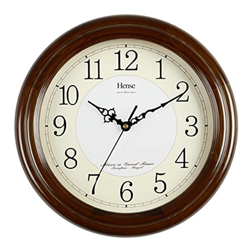 Hense 12.6-inch Large Solid Platane Wood Wall Clock Non-Ticking Wall Decor Clocks For Kitchen Living Room Modern Clock Mute Simple Quartz Clock with Big Arabic Numerals Best Gift For Wedding HW13#B-B