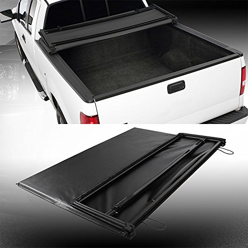 Ruiang Voyage 1pc Black Aluminum Frame Tri-Fold Soft Tonneau Cover Assembly Fit 97-03 Ford F150 04 Heritage Pickup 6.5ft 78