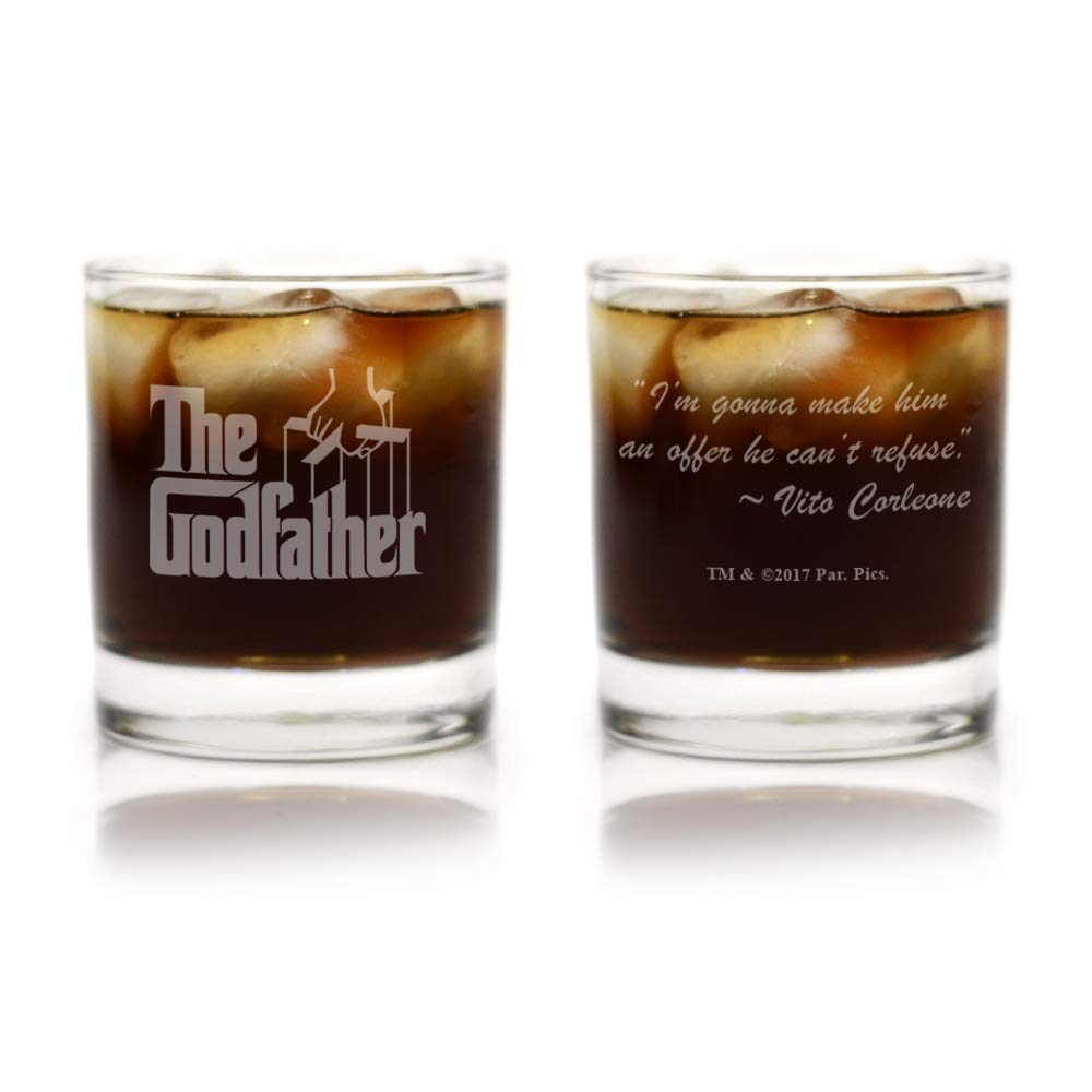 Movies On Glass - The Godfather Movie Logo With Quote,''I'm Gonna Make Him an Offer He Can't Refuse'', Engraved Cocktail Glass