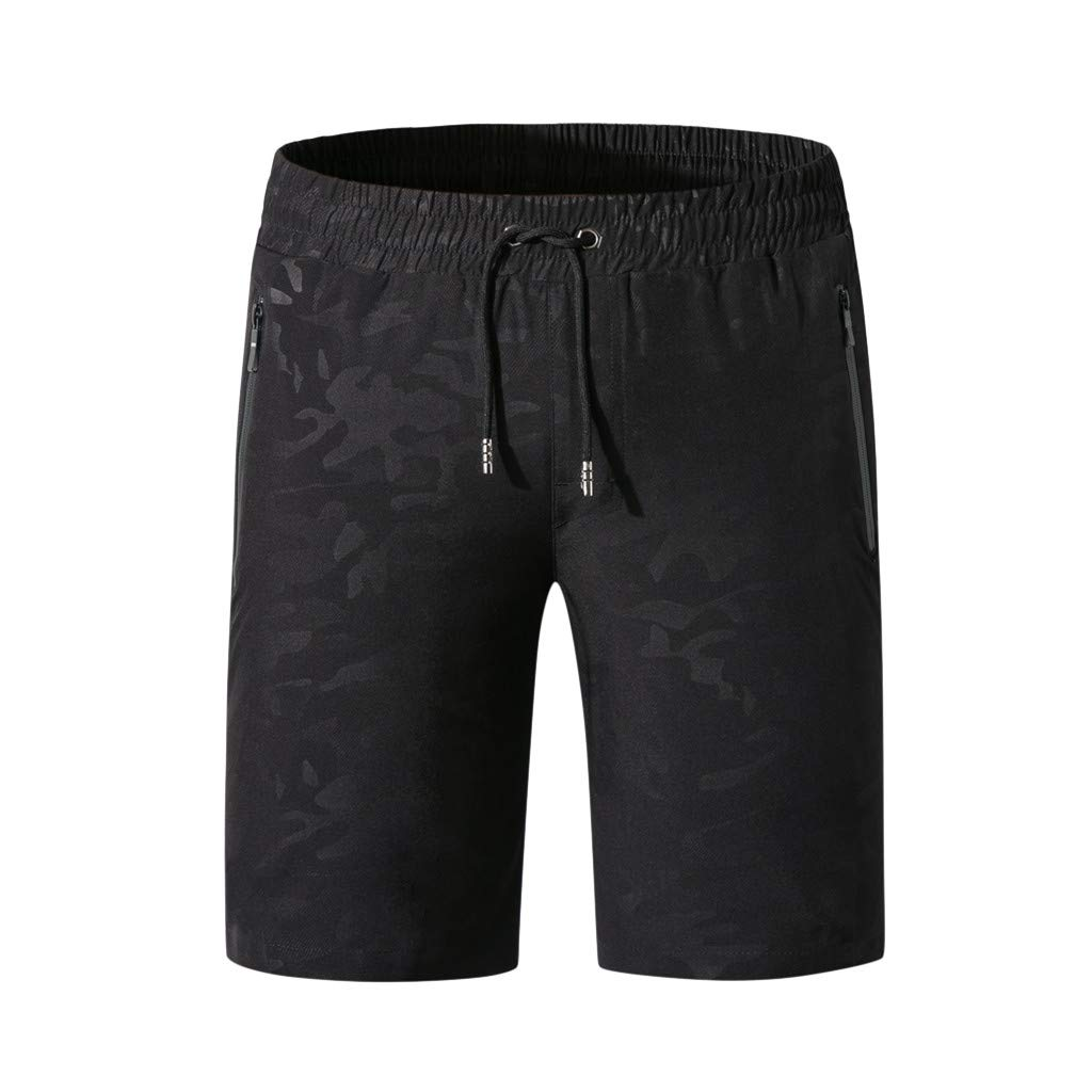 Men Swim Trunks, JOYFEEL Big and Tall Casual Quick Dry Summer Beach Shorts Running Training Active Gym Shorts Black