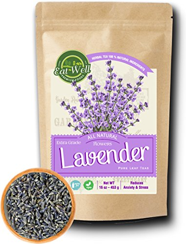Lavender Flowers | 4 oz Reseable Bag,Bulk | Dried Culinary Lavender Buds, Herbal Tea | Relaxing,Sleep Well | Aromatherapy, Crafts Potpourri,Home Fragrance by Eat Well Premium Foods (Flowers Dried Herbs)