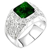 Men's Elegant Sterling Silver .925 Ring High Polish Princess Cut Featuring a Synthetic Green Emerald and 32 Fancy Round Cubic Zirconia (CZ) Stones, Platinum Plated Jewelry