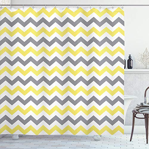 Ambesonne Geometric Decor Collection, Horizontal Chevron Pattern Endless Simplicity Fashionable Trendy Artful Design , Polyester Fabric Bathroom Shower Curtain Set with Hooks, Yellow Grey White