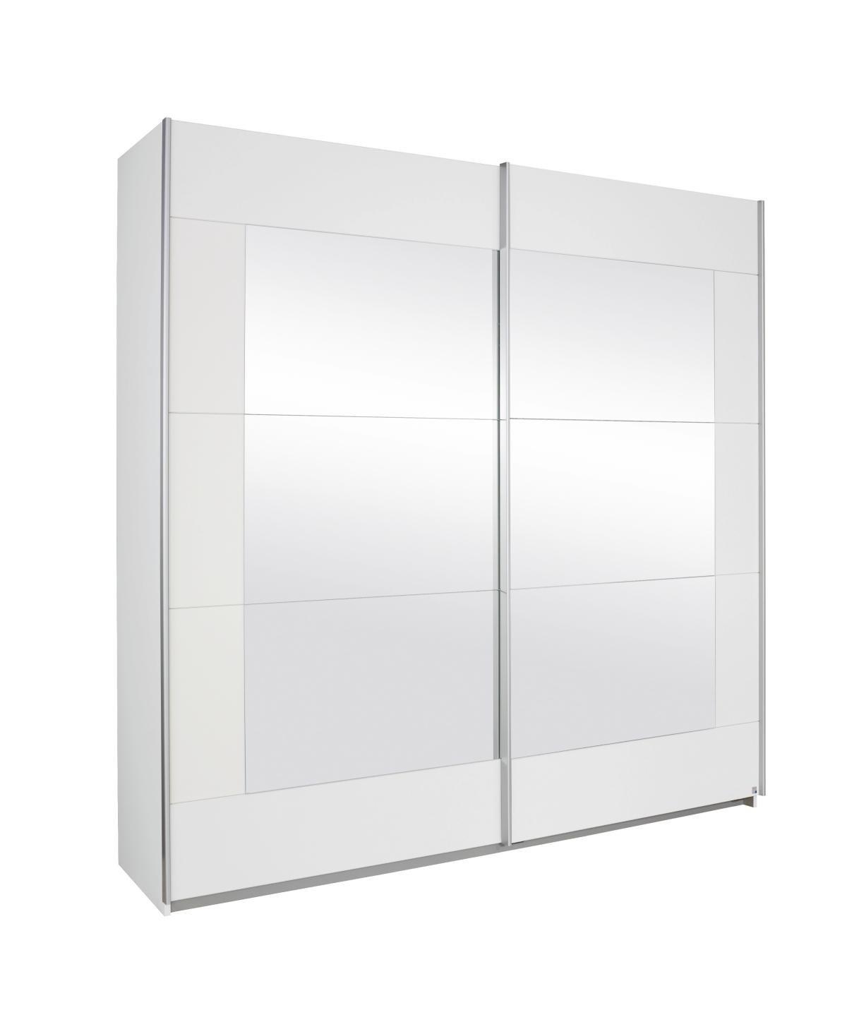 Rauch Schwebetürenschrank Weiß mit Spiegel 2-türig, BxHxT 226x210x62 ...