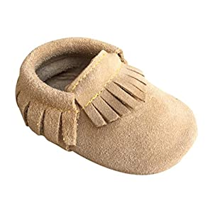 Lucky Love Baby Moccasins • Premium Leather • Infant, Baby & Toddler Shoes For Girls and Boys (6-12 Months | Size 3.5 US, Tan Suede)
