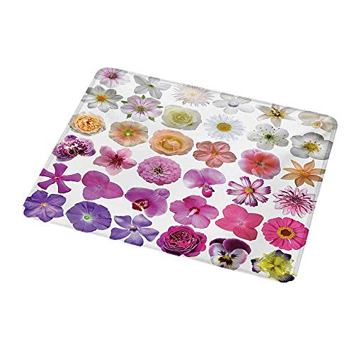 Gaming Mouse Flower,Pattern of Various Vase Flowers Petunia Botanic Wild Orchid Floral Nature Art,White Lilac Pink,Customized Rectangle Non-Slip Rubber Mousepad Gaming Mouse Pad 9.8