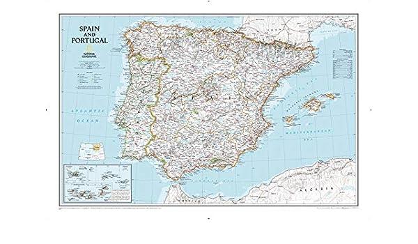 National Geographic: Mapa de pared clásico de España y Portugal, 33 x 22 pulgadas, impresión de calidad artística: Amazon.es: Hogar