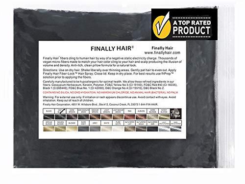 Hair Loss Concealer Finally Hair Fibers Refill Bag - 56 Grams of Premium Hair Loss Concealer in a Refill Bag (Soft Black)