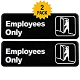 Employees Only Sign: Easy to Mount Informative Plastic Sign with Symbols 9''x3'', Pack of 2