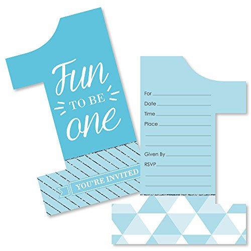 1st Birthday Boy - Fun to Be One - Shaped Fill-in Invitations - First Birthday Party Invitation Cards with Envelopes - Set of 12 by Big Dot of Happiness