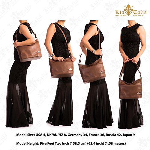 Handbag Shoulder Medium Genuine Size Womens Leather Italian LIATALIA JANE Coffee Hobo qaxnw800