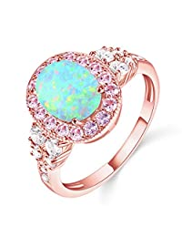Fire Opals Rings for Women AAA CZ Rose Gold Plated Charming Romantic Ring Jewelry Size 5-10