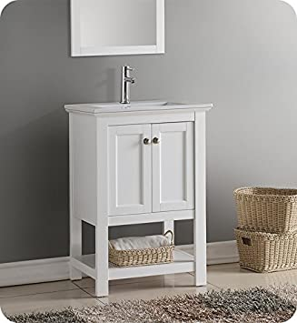 Fresca Manchester 24u0026quot; White Traditional Bathroom Vanity