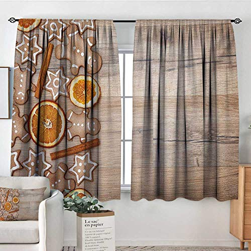 All of better Gingerbread Man Thermal Insulating Blackout Curtain Dried Orange Slices Cinnamon Sticks Aromatic Sweet Biscuits Stars Kid Blackout Curtains 72