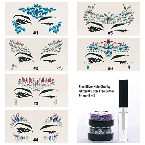 6 Sets Mermaid Body Chest Face Eyes Gems Rhinestones Jewels Crystals Jewelry Stickers Temporary Tattoo for Music Festival Party Carnival+Free Chunky Glitter+Glitter Glue By GADGETS ENTREPOT(Pack #12)