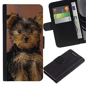Stuss Case / Funda Carcasa PU de Cuero - Yorkshire Terrier Puppy Surprised Dog - Sony Xperia Z3 Compact