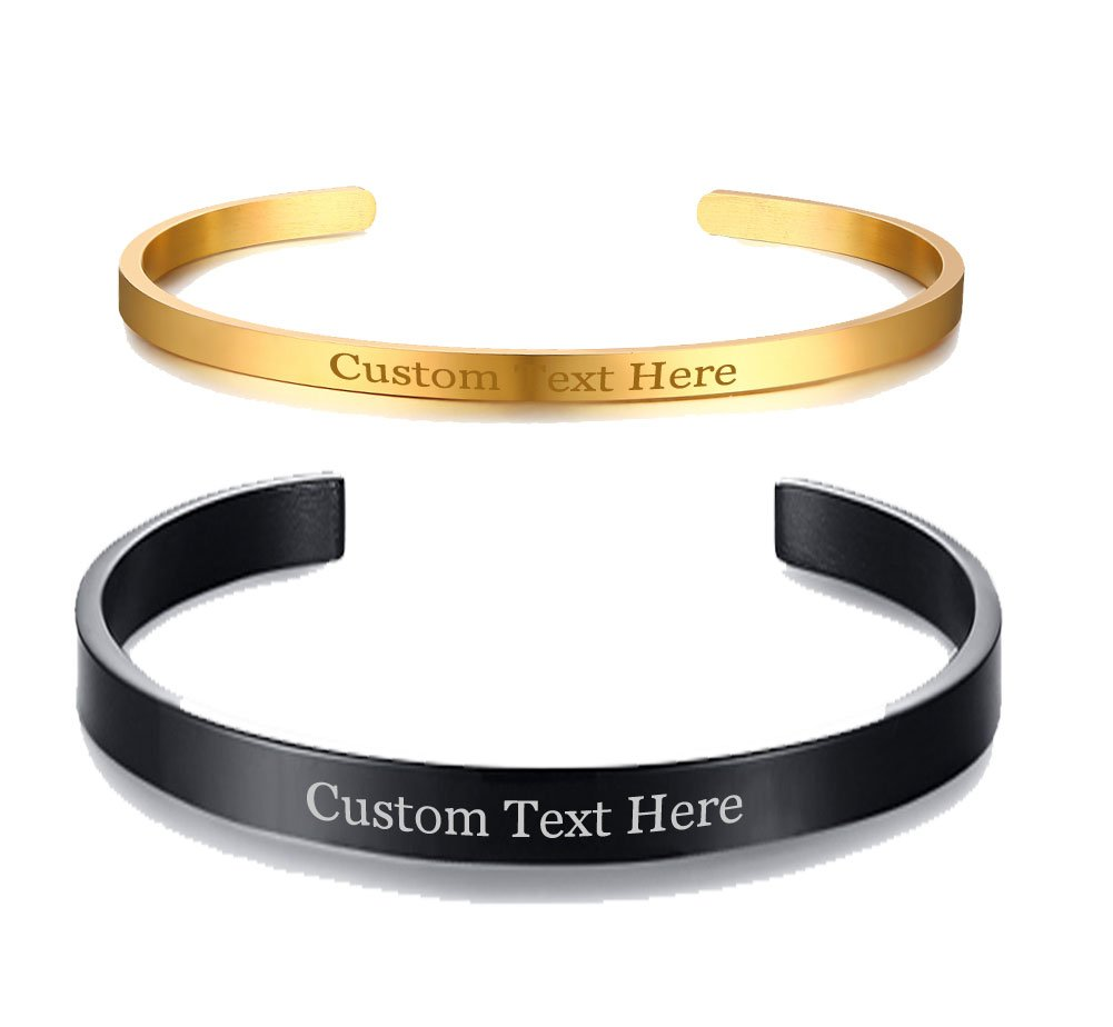 XUANPAI Unisex Stainless Steel Personalized Custom Plain Polished Cuff Open Bangle Bracelets for Couples