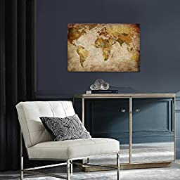 Wieco Art - World Map Large Modern Stretched and Framed Giclee Canvas Prints Artwork Brown Abstract Seascape Pictures Paintings on Canvas Wall Art for Living Room Bedroom Home Decorations MAP_6090