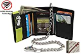 Men's Cow Leather (Snake Texture) 112- Black R.F.I.D Safe Identity Theft Protection Trifold Steel Chain Wallet Biker Motorcycle Trucker's in Gift Box