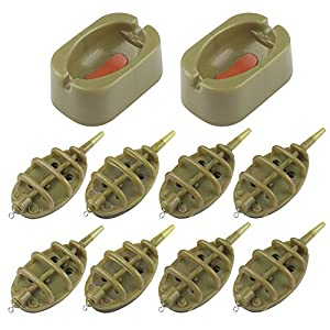 Chudian 10 Pieces Fishing Inline Feeders, Brown Inline Method Feeders Fishing Quick Release Method Feeder Mould Method…
