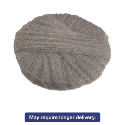 Radial Steel Wool Pads, Grade 0 (fine): Cleaning & Polishing, 18'', GY, 12/CT