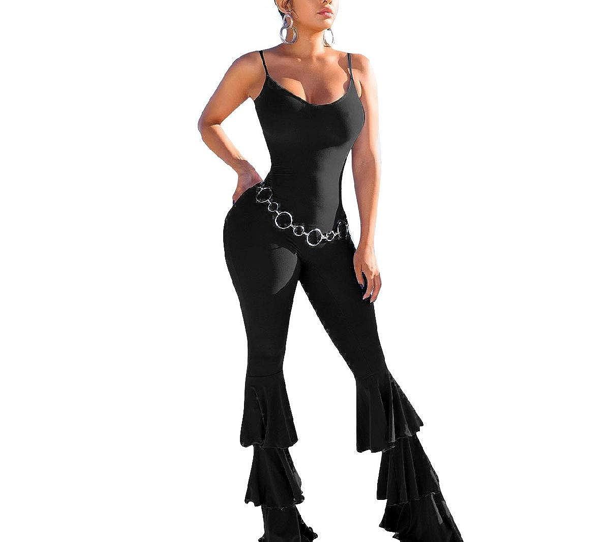 Tralounry Womens Spaghetti Strap Pure Colour Open Back Wide Leg Jumpsuit Romper