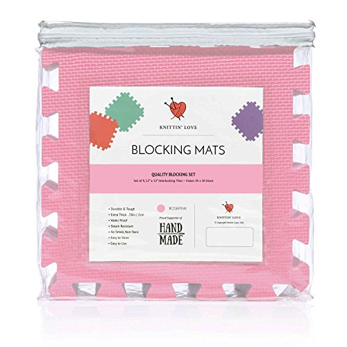 Lace Scarf Kit (Blocking Mats for Knitting Set, Extra Thick .78 inch, Steam and Wet Block, Durable, Storage Bag Included, Easy to Use, Easy to Store (Rose Pink))