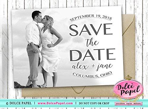 10 Bold Black & White Beach Photo Vintage Save The Date Cards Wedding 5x7