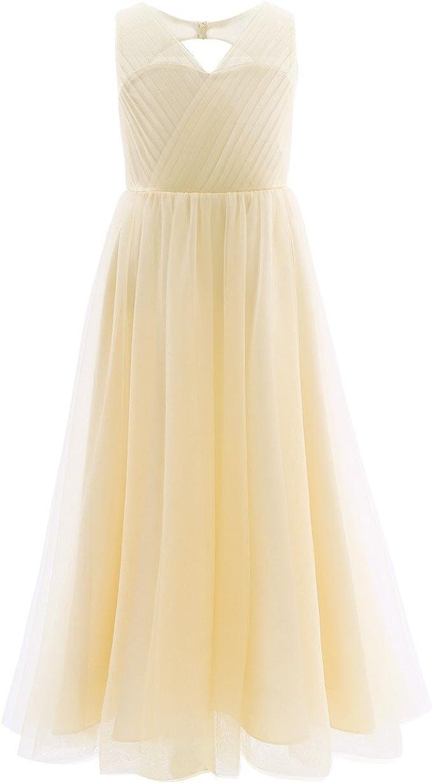 Freebily Mädchen Kleid lang festlich Prinzessin Kleid Hochzeit  Blumenmädchen Kleider Brautjungferkleid Festzug Partykleid Abendkleid  Karneval