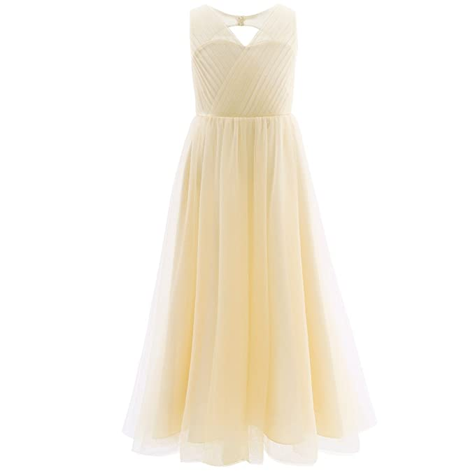 2eb0887f99c0 YiZYiF Kids Big Girls Backless Mesh Satin Summer Princess Bridesmaid Wedding  Dance Prom Party Dress  Amazon.co.uk  Clothing