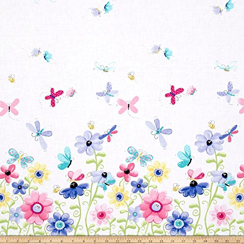Flutter the Butterfly Flutter Double Border Lilac Fabric By The (Blue Fabric Borders)