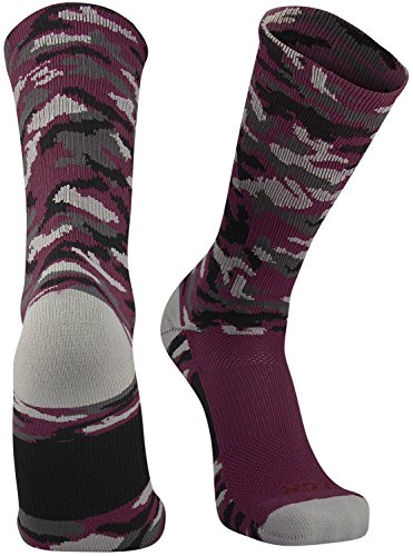 TCK Sports Elite Woodland Camo Crew Socks, Maroon, (Maroon Softball Shoes)