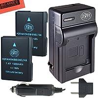 BM Premium 2-Pack of ENEL14, EN-EL14, EN-EL14A Battery and Charger for Nikon D3400, D5600, D3100, D3200, D3300, D5100, D5200, D5300, D5500, DF, Coolpix P7000, P7100, P7700, P7800 Digital Camera